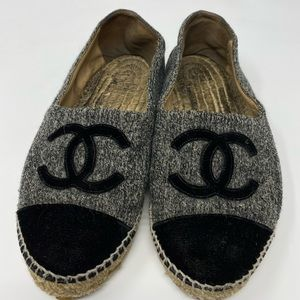 WOMENS CHANEL GRAY BLACK VELVET ESPADRILLES SZ 8